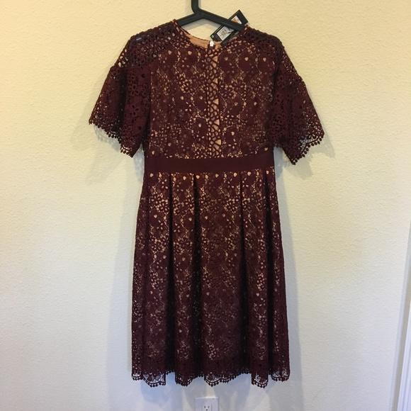 M&S Dresses & Skirts - NWT M&S burgundy lace short sleeve dress